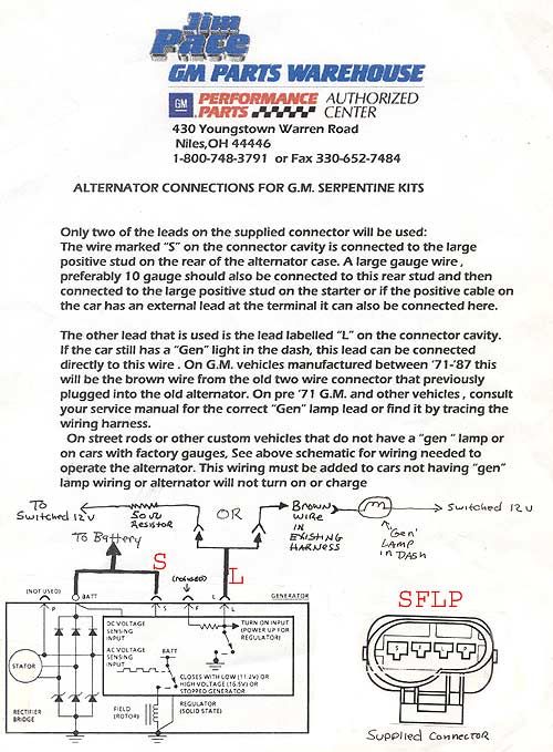 serpentine alternator wiring rh paceperformance com 2Wire Alternator Wiring Diagram Chevy Alternator Wiring Diagram