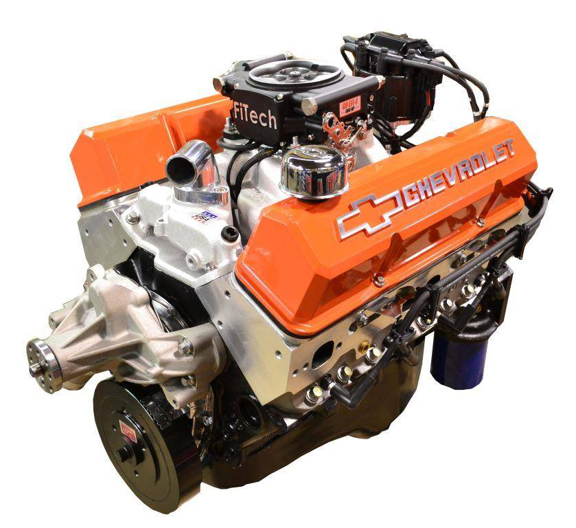 Small Block Crate Engine By Pace Performance Fuel Injected 383 430hp With Orange Trim Bp38313ct1 5fx