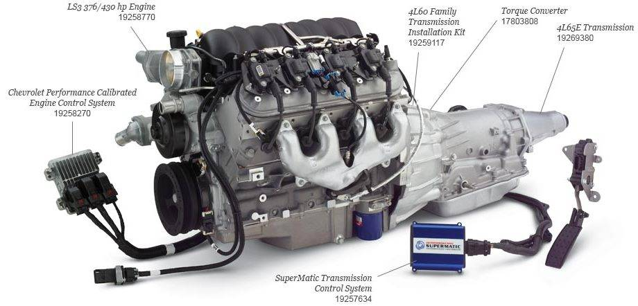 chevrolet performance parts - cpsls34l65e-x - gm ls3 430hp engine with  4l65e transmission combo