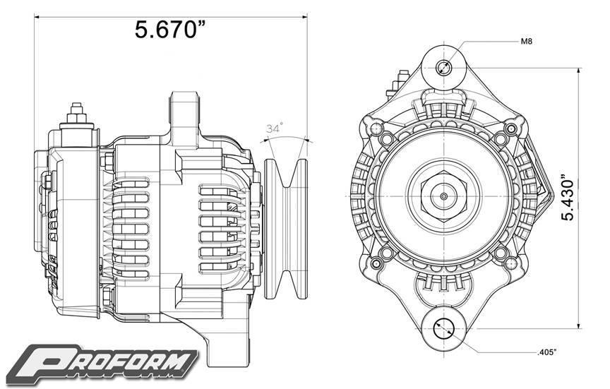 66432 - 1-Wire Mini Alternator, 50 AMP, Black Crinkle