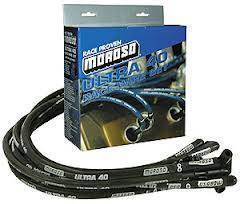 Moroso Performance - MOR73820 - Moroso Ultra 40 Race Wire Custom Fit Set, BBC, 90 Degree Plug, HEI, Sleeved, Routes Under Header