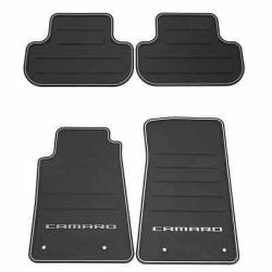 GM (General Motors) - 22766717 - Front and Rear Premium All Weather Floor Mats, 2012-14 Camaro, Black with Silver Camaro Logo