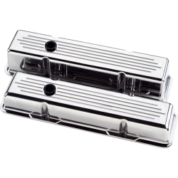 Billet Specialties - BSP95220 - Billet Specialties Aluminum Valve Covers, SBC, Polished, Ball Milled, Tall Style