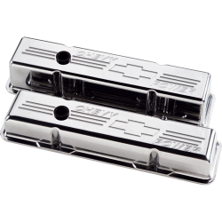 Billet Specialties - BSP95222 - Billet Specialties Aluminum Valve Covers, SBC, Polished with Chevy Power Logo, Tall Style