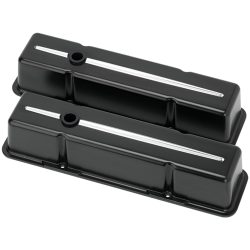 Billet Specialties - BSP95224 - Billet Specialties Aluminum Valve Covers, SBC, Streamline Collection, Satin Black