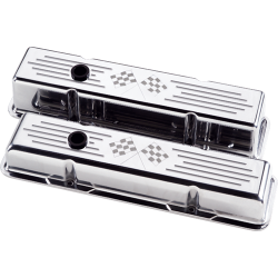 Billet Specialties - BSP95227 - Billet Specialties Aluminum Valve Covers, SBC, Polished with Cross Flags, Tall Style