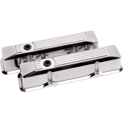 Billet Specialties - BSP95620 - Billet Specialties Aluminum Valve Covers, SBC, Polished Ribbed, Tall Style