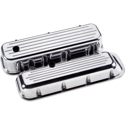 Billet Specialties - BSP96020 - Billet Specialties Aluminum Valve Covers, Polished, BBC, Ball Milled, Short Style