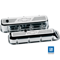 Billet Specialties - BSP96121 - Billet Specialties Aluminum Valve Covers, BBC, Polished with Bowtie Logo, Tall Style