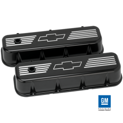 Billet Specialties - BSPBLK96121 - Billet Specialties Aluminum Valve Covers, BBC, Satin Black with Bowtie Logo, Tall Style