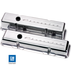 Billet Specialties - BSP95223 - Billet Specialties Aluminum Valve Covers, SBC, Polished with Chevrolet Script, Tall Style