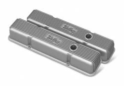 Holley Performance - HLY241-240 - Vintage–style Finned, Die-Cast Aluminum, Valve Covers for Small Block Chevy with Emissions Port- Raw Finish