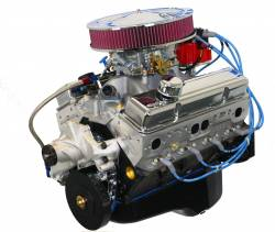 Blue Print - Small Block Crate Engine by BluePrint Engines 383 CI 430 HP GM Style Dressed Longblock with Carburetor Aluminum Heads Roller Cam Drop in ready BP38313CTC1D