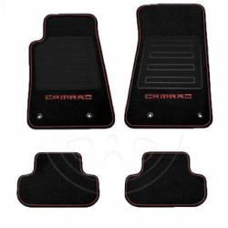 GM (General Motors) - 92221511 - 2010-14 Camaro Floor Mats, Premium Carpet, Black w/Inferno Orange Camaro Logo and Red Edging
