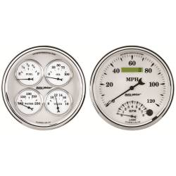 AutoMeter - AutoMeter Old Tyme White II Quad Gauge/Tach/Speedo Kit 1203