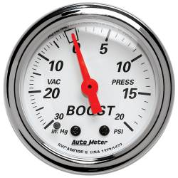 AutoMeter - AutoMeter Arctic White Mechanical Boost/Vacuum Gauge 1372