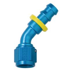 Fragola - FRA204506 -  Fragola Series 8000 Push-Lite Race Hose Ends, 45 Degree, 6AN, Blue
