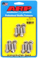 "ARP - ARP4001101 -  ARP Header Bolt Kit- Chevy Small Block - 3/8""X .750""- Stainless Steel- 6 Point Nuts-Qty.-12"