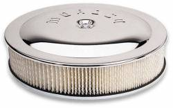 "Moroso Performance - MOR65911 - Moroso Flat Bottom Racing Air Cleaner, 14"" Diameter with 3"" Filter, Chrome, PCV Adapter Included"