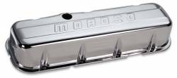 Moroso Performance - MOR68113 - Stamped Steel Valve Cover, BBC, Chrome Plated, Tall, Moroso logo, with Baffle