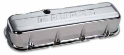 Moroso Performance - MOR68112 - Stamped Steel Valve Cover, BBC, Chrome Plated, Tall, Moroso logo, without Baffle