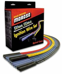 Moroso Performance - MOR72405 - Moroso 8mm Blue Max Spiral Core Wire Set - SBC, 90 Degree Plug, Non-HEI, Sleeved, Routes Under Header