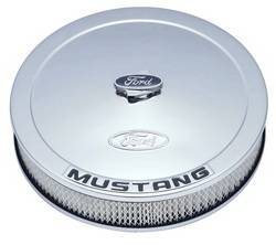 "Proform - 302361 - 13"" Round Ford Mustang Air Cleaner - Chrome with Black Emblems"