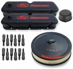 Proform - 302500 - Ford Racing Deluxe Engine Dress-Up Kit - Black Crinkle Steel with Recessed Red Emblems