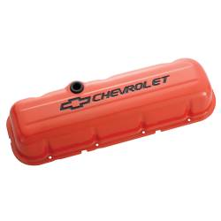 Proform - 141789 - Stamped Steel Chevy Orange Valve Cover - BBC, Short with Baffle