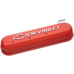 Proform - 141261 - LS Slant Edge Valve Covers - Chevy Orange with Raised Emblem