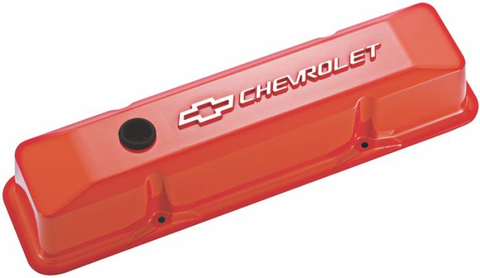 Proform - 141120 - Die-Cast Aluminum Valve Cover - Pre-1987 SBC, Tall with Baffle, Chevy Orange with Raised Chevrolet and Bowtie Emblems