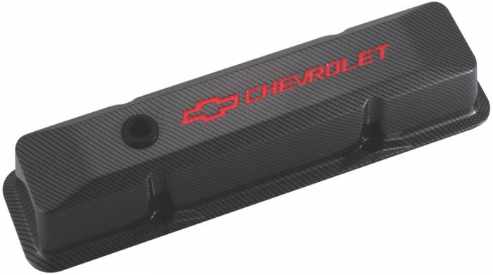 Proform - 141121 - Die-Cast Aluminum Valve Cover - Pre-1987 SBC, Tall with Baffle, Carbon Type with Recessed Red Chevrolet and Bowtie Emblems