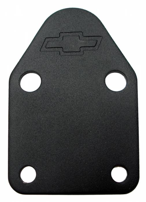 Proform - 141212 - SBC Fuel Pump Block-Off Plate - Black Crinkle with Bow Tie Emblem