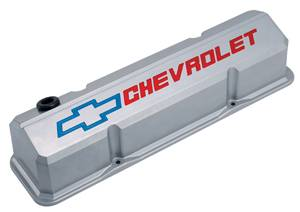 Proform - 141923 - Slant Edge Valve Covers - SBC, Metallic Gray Die-Cast Aluminum with Recessed Red/Blue Emblems