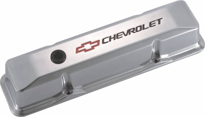 Proform - 141108 -  Die Cast Aluminum Valve Cover - pre-1987 SBC, Polished with Recessed Emblems, Tall w/Baffle