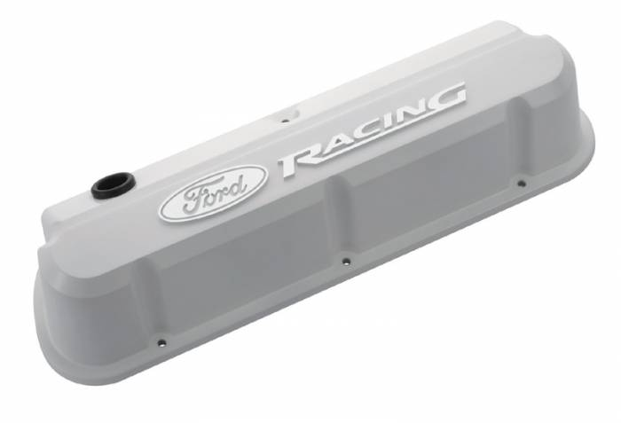 Proform - 302142 - Die-Cast Aluminum Valve Covers - Ford 289-302-351W Slant-Edge Valve Covers, White with Ford Racing Raised Emblem