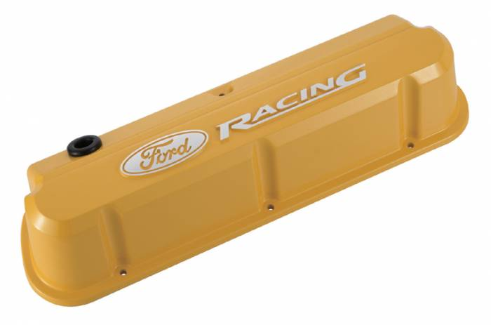 Proform - 302144 - Die-Cast Aluminum Valve Covers - Ford 289-302-351W Slant-Edge Valve Covers, Yellow with Ford Racing Raised Emblem