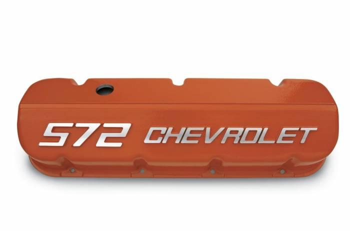 Chevrolet Performance Parts - 12499200 - Cast Aluminum Valve Covers with 572 Chevrolet Logo, Big Block Chevy, Tall, Orange Powder Coat