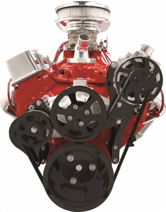 Billet Specialties - BSPBLK13125 - Billet Specialties Tru Trac Serpentine System - Small Block Chevy, Alternator Only, Black Anodized Pulleys & Brackets