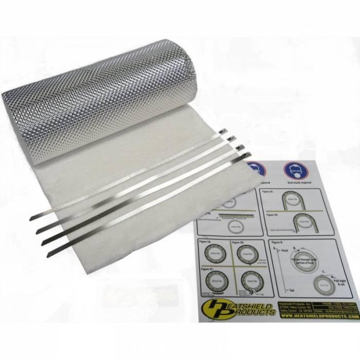 "Heatshield Products - HSP176001 - Heatshield Armor Hot Pipe Kit - 1/2"" thick, 1'W x 3'L with (4) 5/16"" W x 14""L Ties"