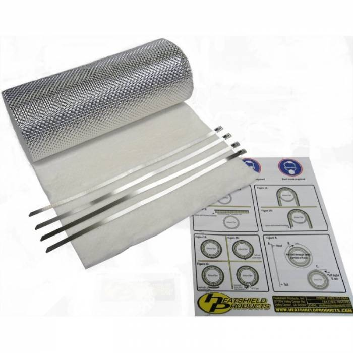 "Heatshield Products - HSP176005 - Heatshield Armor Kit - 1/2"" thick, 1'W x 5' L with (6) 5/16""W x 14""L Ties"
