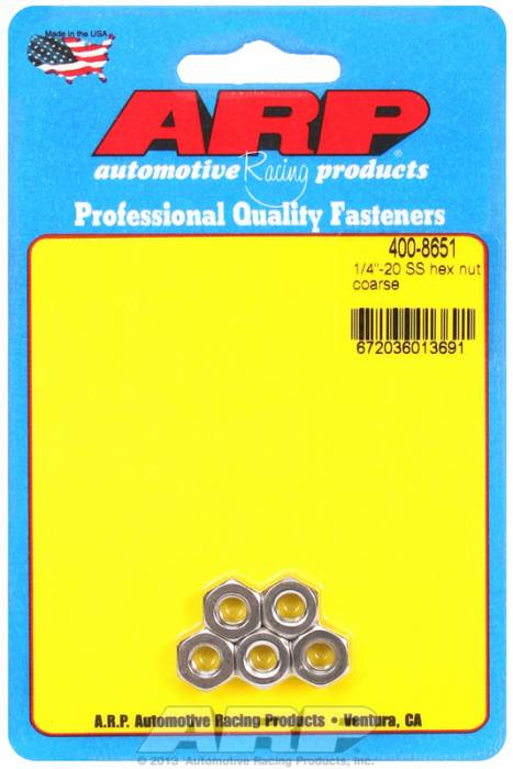 "ARP - ARP4008651 - ARP Bulk Fasteners - 1/4""-20 Stainless Steel Hex Head - 5 Pack"
