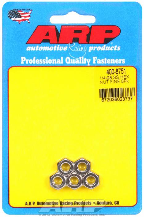 "ARP - ARP4008751 - ARP Bulk Fasteners - 1/4""-28 Stainless Steel Hex Head - 5 Pack"