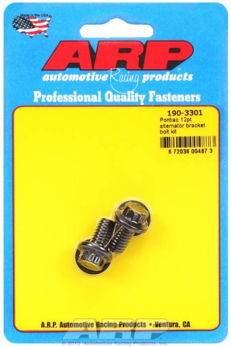 ARP - ARP1903301 - ARP Alternator Bracket Bolt Kit- Pontiac V8 - Black Oxide- 12 Point Head