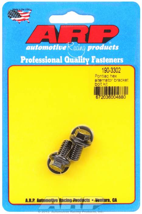 ARP - ARP1903302 - ARP Alternator Bracket Bolt Kit- Pontiac V8 - Black Oxide- 6 Point Head