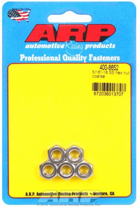 "ARP - ARP4008652 - ARP Bulk Fasteners - 5/16""-18 Stainless Steel Hex Head - 5 Pack"