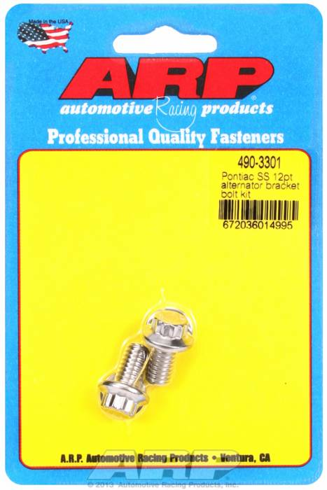 ARP - ARP4903301 - ARP Alternator Bracket Bolt Kit- Pontiac V8 -Stainless Steel- 12 Point Head
