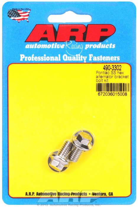 ARP - ARP4903302 - ARP Alternator Bracket Bolt Kit- Pontiac V8 - Stainless Steel- 6 Point Head