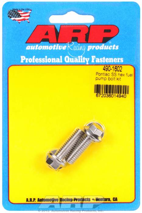 ARP - ARP4901602 - ARP Fuel Pump Bolt Kit-Pontiac- Stainless Steel- 6 Point Head