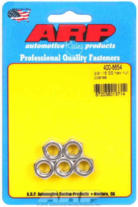 "ARP - ARP4008654 - ARP Bulk Fasteners - 3/8""-16 Stainless Steel Hex Head - 5 Pack"